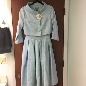 'Marianne' Light Blue Swing Dress and Jacket Twin
